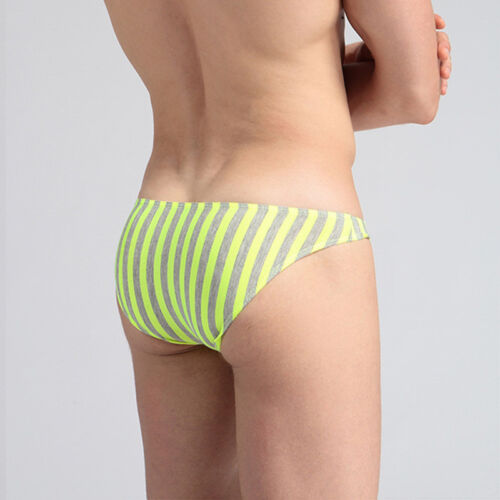 Men/'s Bikini Briefs Low Rise Underwear Pouch Bulge Shorts Striped Underpants