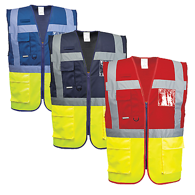 Portwest Paris Executive Vest Hi Vis Two Tone Safety Reflective Tape C276