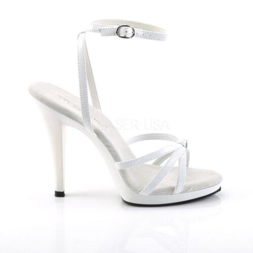 436 Uk À Chaussures Flair Pleaser Plateforme 8 Bretelles Talons Taille Parti Blanc Poledancing Apqw5IWf