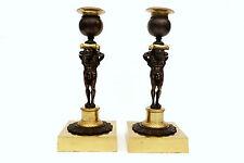 Paire de bougeoirs en bronze doré représentant des Atlantes XIXé Ht 20,3cm n°612