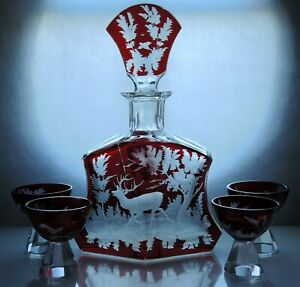 Art-Deco-Bohemian-Ruby-Red-enamel-Crystal-Glass-Decanter-Carafe-Set