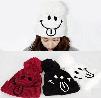 Ladies Girl Winter Crochet Knitting Smile Warm Beret Ski Beanie Ball Caps Hats