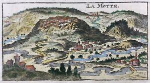 La Mothe en Bassigny en 1686 Haute Marne Rare Gravure sur cuivre Outremecourt