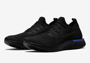 NEW Women's Nike Epic React Flyknit Triple Black Racer Blue AQ0067-004