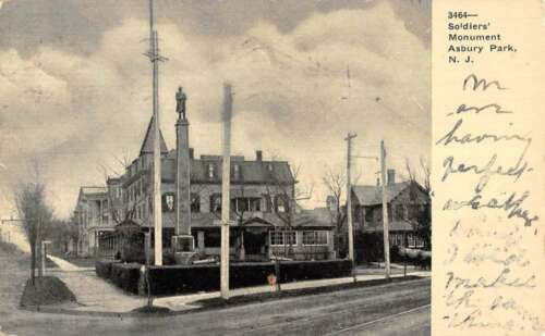 Asbury Park New Jersey Soldiers Monument Street View Antique Postcard K89099
