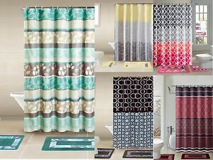 Designer-15-Piece-Bathroom-Accessory-Set-2-Bath-Mats-Shower-Curtain-amp-12-Rings