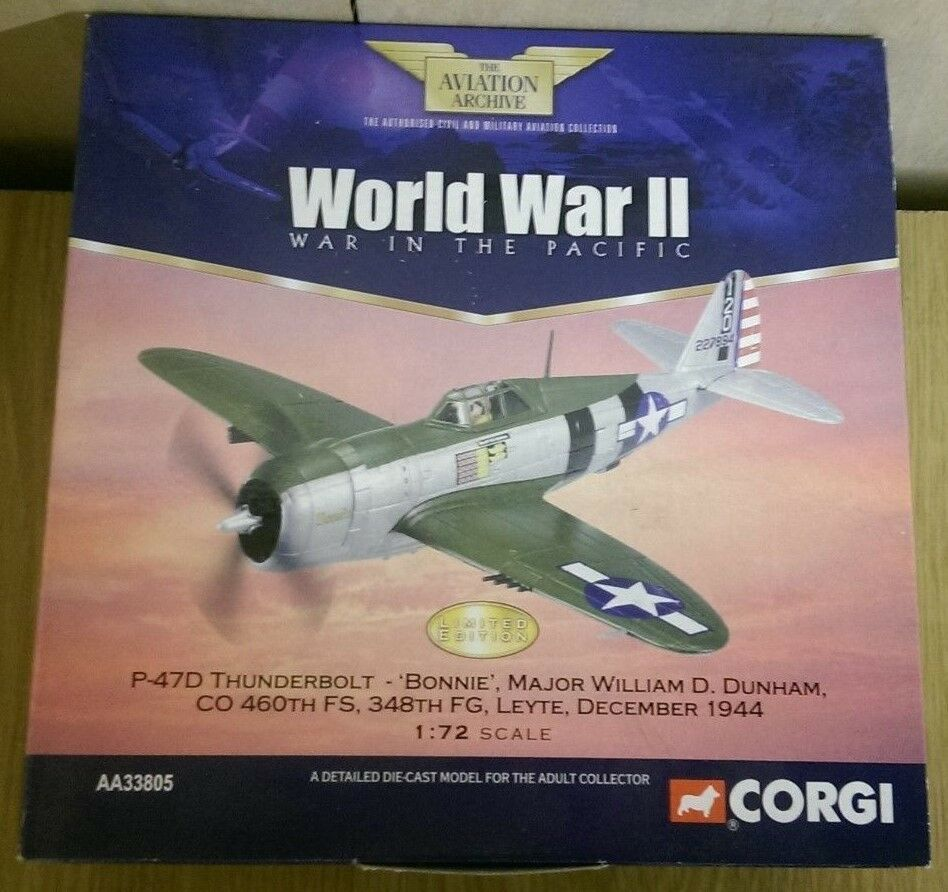 CORGI AA33805 P-47D Thunderbolt Bonnie maggiore William Dunham LTD ED 0001 del 2900