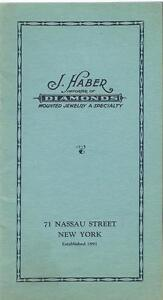 1920s Advertising Booklet J Haber Diamond Importer Jewelry Mounting Specialist
