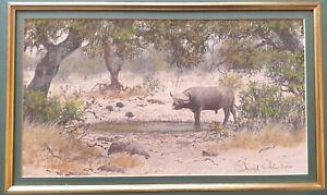 David-Johnson-1958-original-Buffalo-amp-Blue-Crane-detailed-signed-pastel-painting