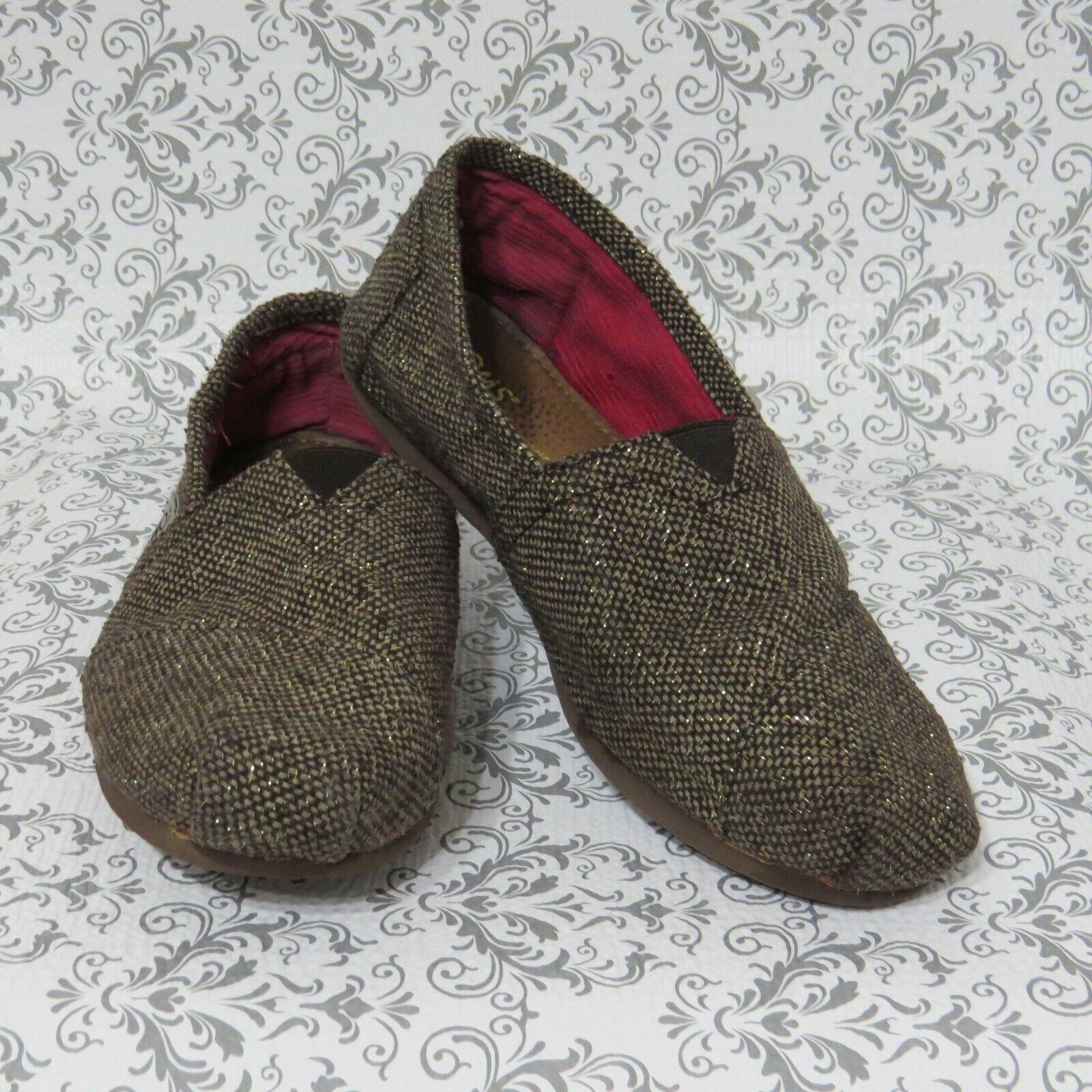 Toms Classic Brown Sz 6.5 Gold Woven Alpargatas Slip On Ballet Flats Shoes