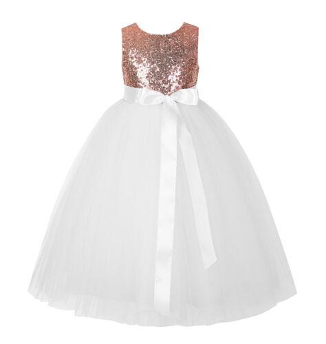 Sequin Heart Cutout Flower Girl Dress Formal Dress Father Daughter Dance Dresses