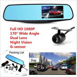 "1080P 4.3""Car Dash Camera Dual Cam Vehicle Front Rear DVR Lens HD Video Recorder"