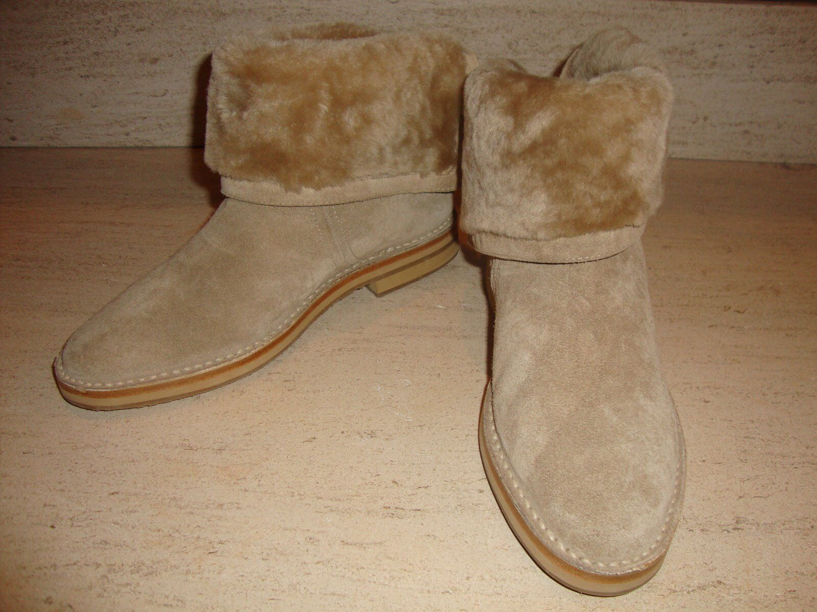GORGEOUS NEW 1,395 SOLD OUT JIMMY CHOO TAUPE SUEDE FOLD OVER BOOTS