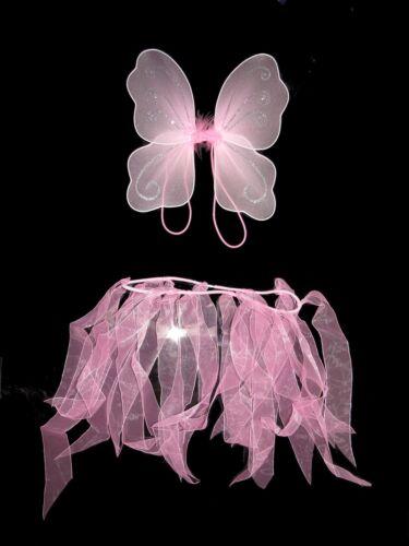 ** NUOVO ** BELLISSIMA fata ali e tutù Set Piccolo Fairytale Bianco Rosa-Glitter