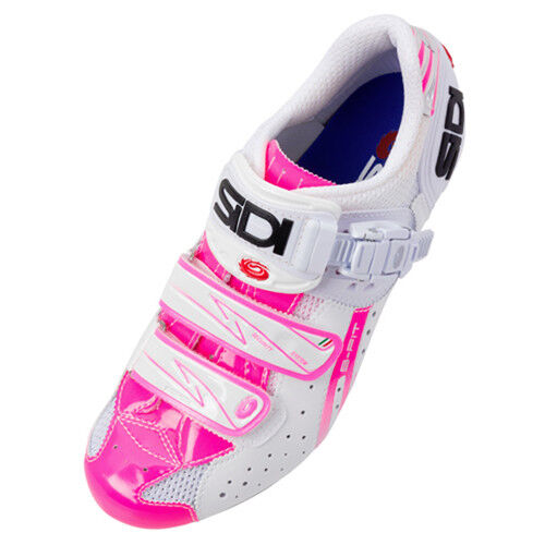 New SIDI Genius 5 Fit Woman Carbon Road Bike Cycling Shoes White Pink