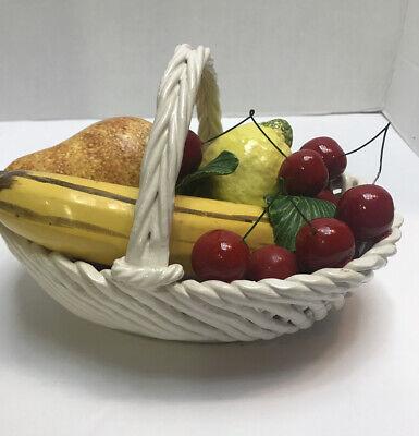 Vintage Ceramiche Bianconi Pietro Italian Made Pottery Bowl Fruit Flower Basket Hand Finished