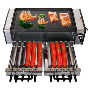 1600W-Multifunctional-Indoor-Grill-Stainless-Steel-Cladding-10-Hot-Dog-Rolls