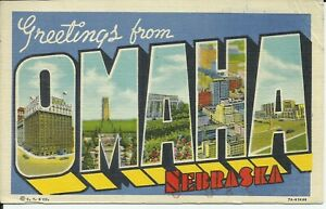 Greetings-From-Omaha-Nebraska-Large-Letter-Linen-Postcard-Curt-Teich