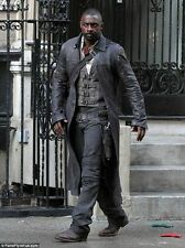Men's Idris Elba  Dark Tower Black Vintage distressed Real  Leather Trench Coat