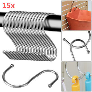 15Pcs-Stainless-Steel-S-Hooks-Kitchen-Meat-Pan-Utensil-Clothes-Hanger-Hanging
