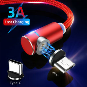 3A-90-Degree-Magnetic-Micro-Usb-Type-C-Fast-Charging-Data-Sync-Cable-For-Android