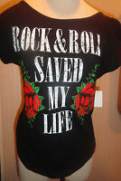 Women's Jerry Leigh Black Rock N Roll Glimmer Roses T-shirt Top Sizes S-2xl
