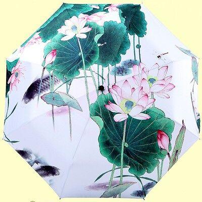 Chinese Style Lotus Flower Fish Pool Sun Parasol Rain Compact Folding Umbrella