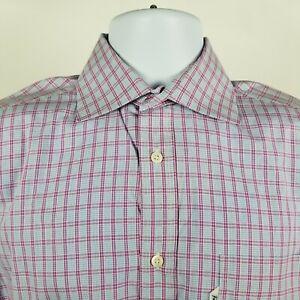 Faconnable-Classique-Mens-Purple-White-Check-L-S-Dress-Button-Shirt-Sz-38-15-L