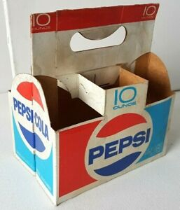 VINTAGE-PEPSI-COLA-CARDBOARD-CARTON-CARRIER-6-PACK-10-Ounce-Glass-Bottles