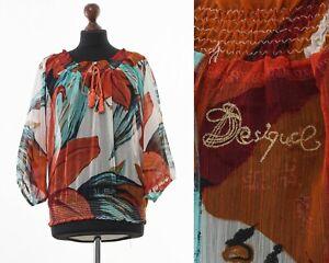 Women-039-s-Desigual-Camicia-Blusa-Top-Manica-Corta-Stampa-Floreale-Taglie-S-M