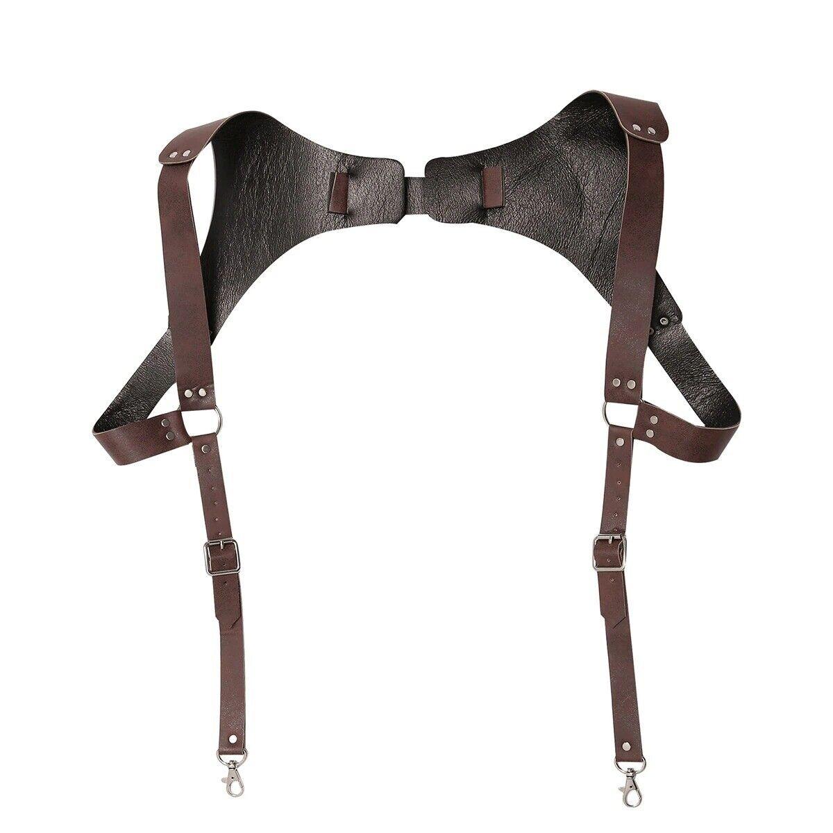 Vintage Leder Strumpfhalter Herren Medieval Punk Verstellbar Brust Schulter Gurt