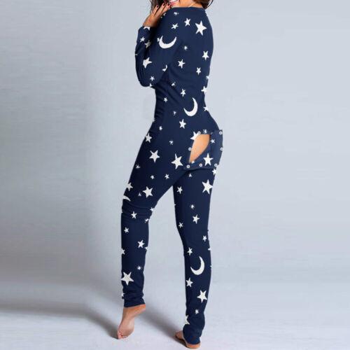 Adulte Femmes Combinaison Pyjama Floral Boutonnière Avant Fonctionnel Boutonné