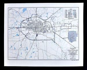 Details About Texas Map Lamar County Paris City Plan Cox Airport Highways Railroads