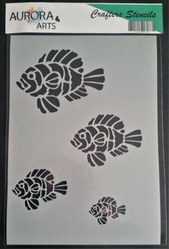 Pochoir par Aurora Arts A4 Poisson Clown pochoir Set 190mic Mylar Craft pochoir 254