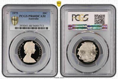 1975 Australia 20 Cents Pcgs Pr68dcam Proof Coin In High Grade
