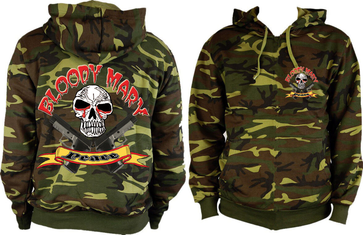 Bloody Mary's  Peace  Camouflage Pull Over Hoodie