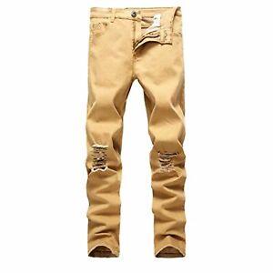 Linea-Uomo-Jeans-Skinny-Strappato-Stretch-Denim-Vita-Biker-Tutti-I-Pantaloni-Slim-Effetto