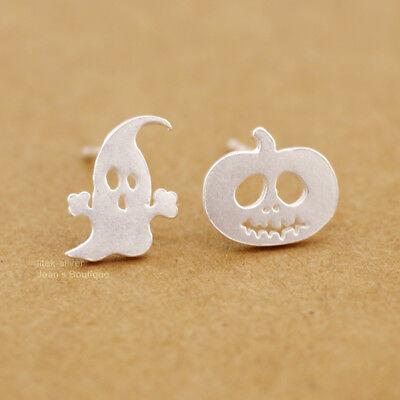 2Pcs Pumpkin Halloween Ghost Ear Silver Stud Dangle Hoop Drop Earrings Jewelry