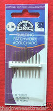 20pc DMC #1766/2 Quilting Craft Needles Size 5-10 Nickel Plated Steel Sharp End