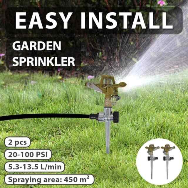 vidaXL 2x Impulse Sprinklers Garden Watering Zinc Metal Spike Lawn Spray Gun