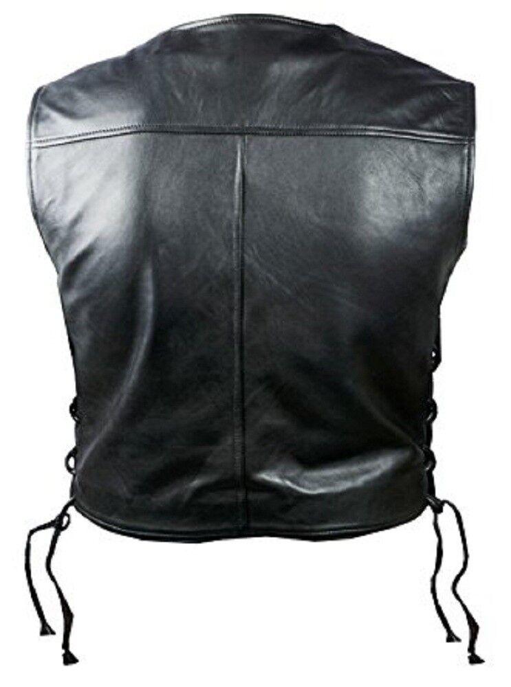 Uomo di vera pelle di Uomo mucca nero moto stile BIKER GILET PANCIOTTO 9af340