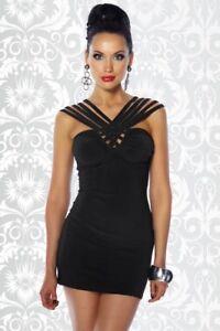 Donna Moda Vestito 12482 Corto Uy Trendy Particolare Sexy Femminile Nero Fashion wxIpICFq7