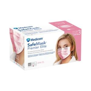 2046 Elite About 50 Astm Details Pink Earloop 3 bx Face Level Premier Masks Safemask Medicom