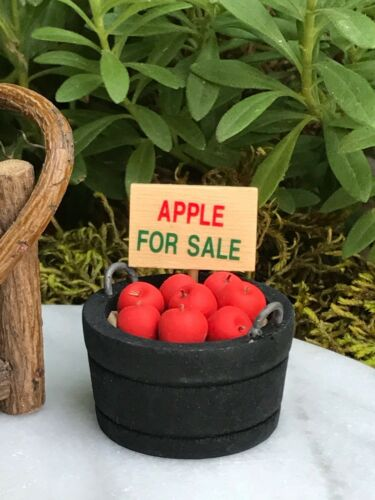 Miniature Dollhouse FAIRY GARDEN Accessories ~ Mini Bucket of Apples for Sale