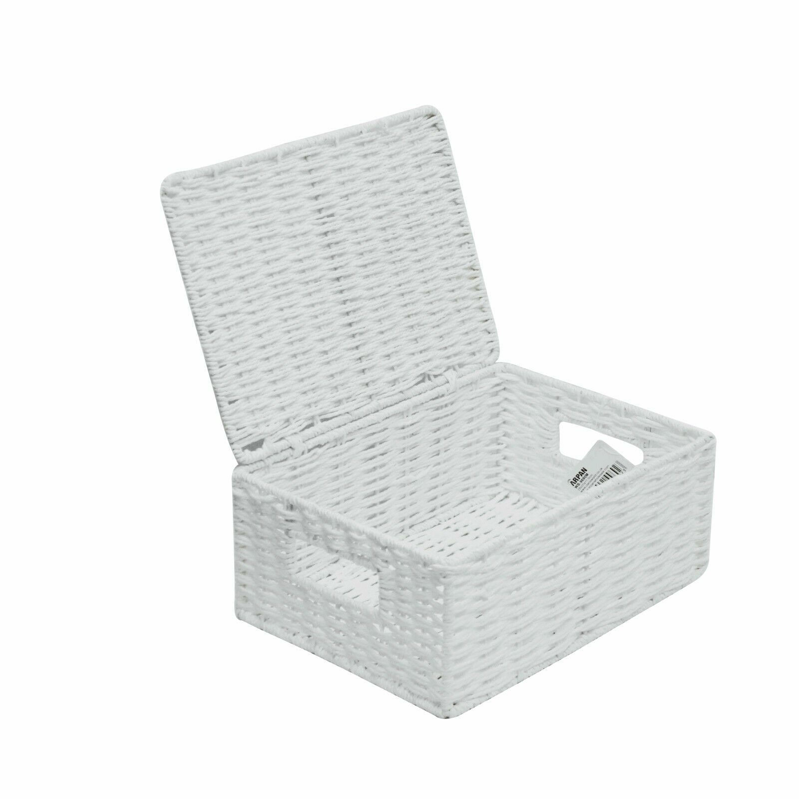Medium Paper Rope Storage Basket Box With Lid - White WB-9690M ...
