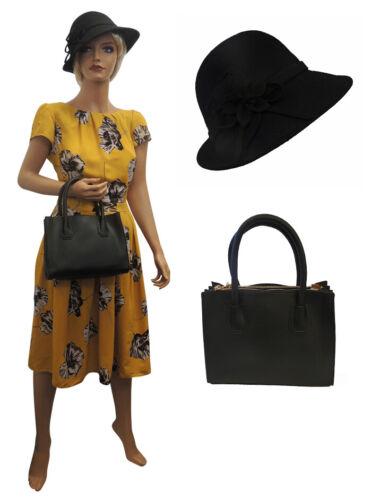 1940s Dresses   40s Dress, Swing Dress   New Yellow  Floral Wartime WW2 1930s 1940s Vintage style Swing Tea Dress £19.99 AT vintagedancer.com