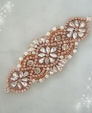 50% di sconto ROSE GOLD STRASS applique/da sposa Applique/perla e strass