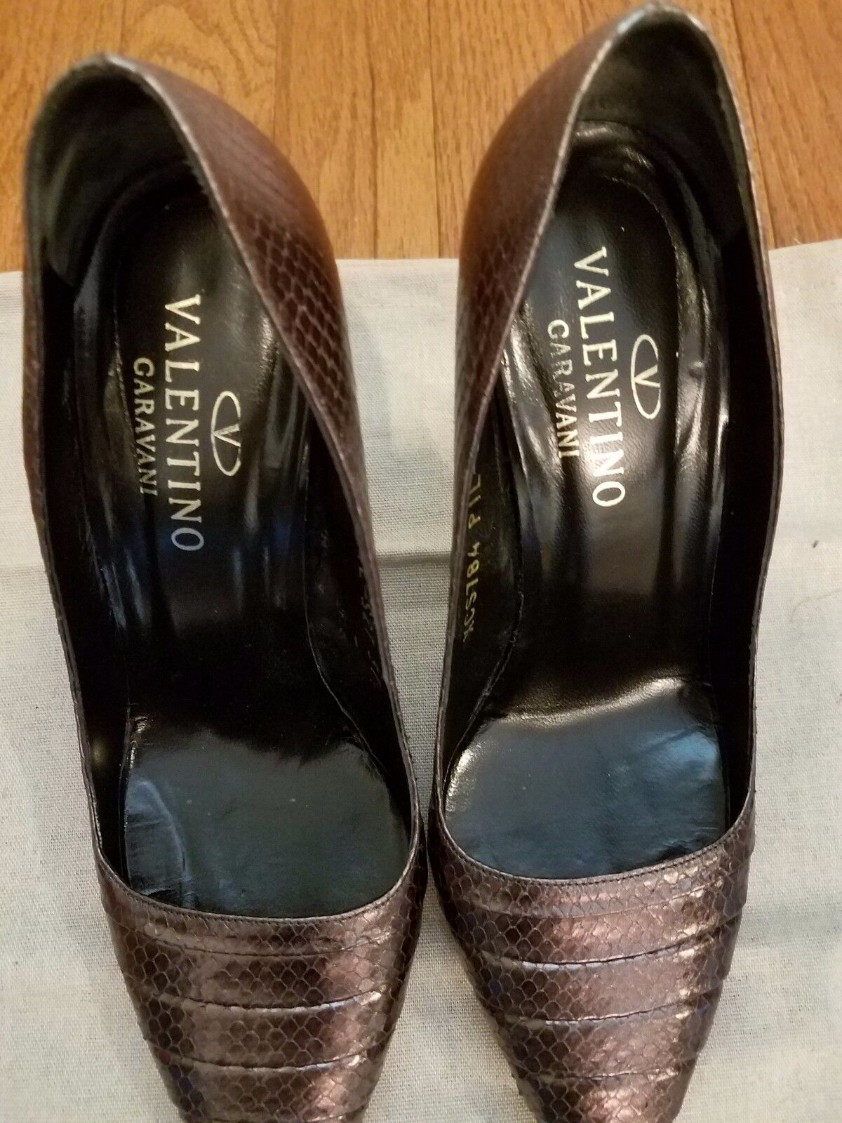 Valentino Garavani pleated toe python brown brown brown pumps size 37.5 e1d93c