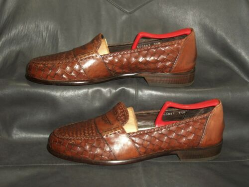 Bragano men's brown woven leather slip on penny lo