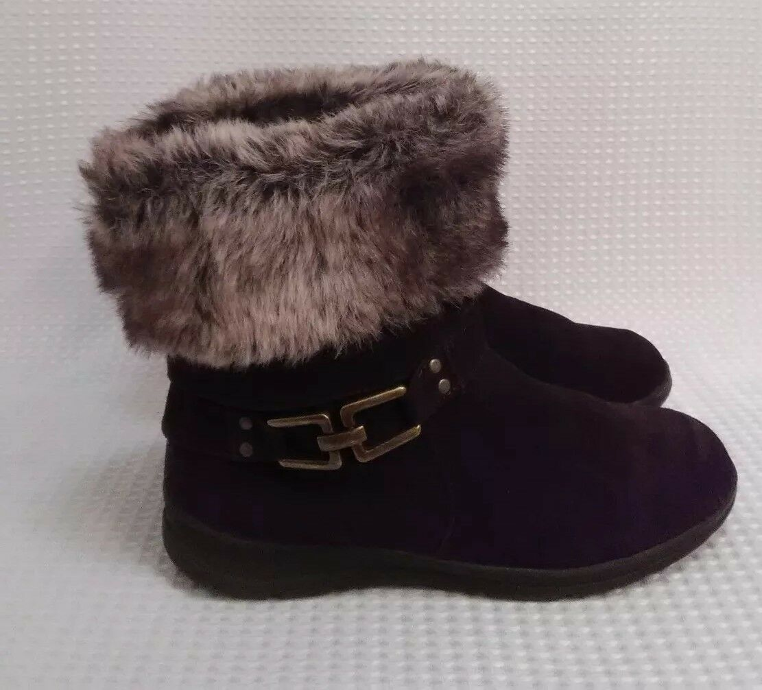 White Mountain Brown Suede Ankle Boots Womens Size 11 M Faux Fur Lining